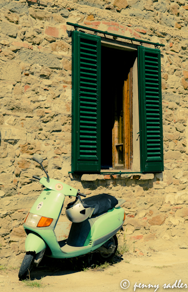 green scooter in front of green shutters @PennySadler 2013