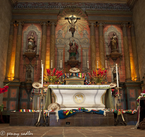 Mission Santa Barbara ©pennysadler 2012-2013 Altar after Sunday service