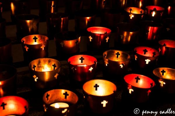 Altar candles @Penny Sadler 2013 Adventuresofacarryon.com