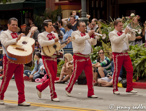 Mariachis in the Fiesta Santa Barbara, parade, @PennySadler 2013
